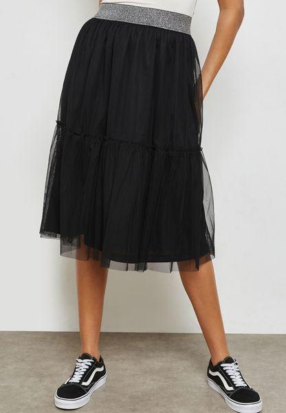 Mesh Overlay Skirt