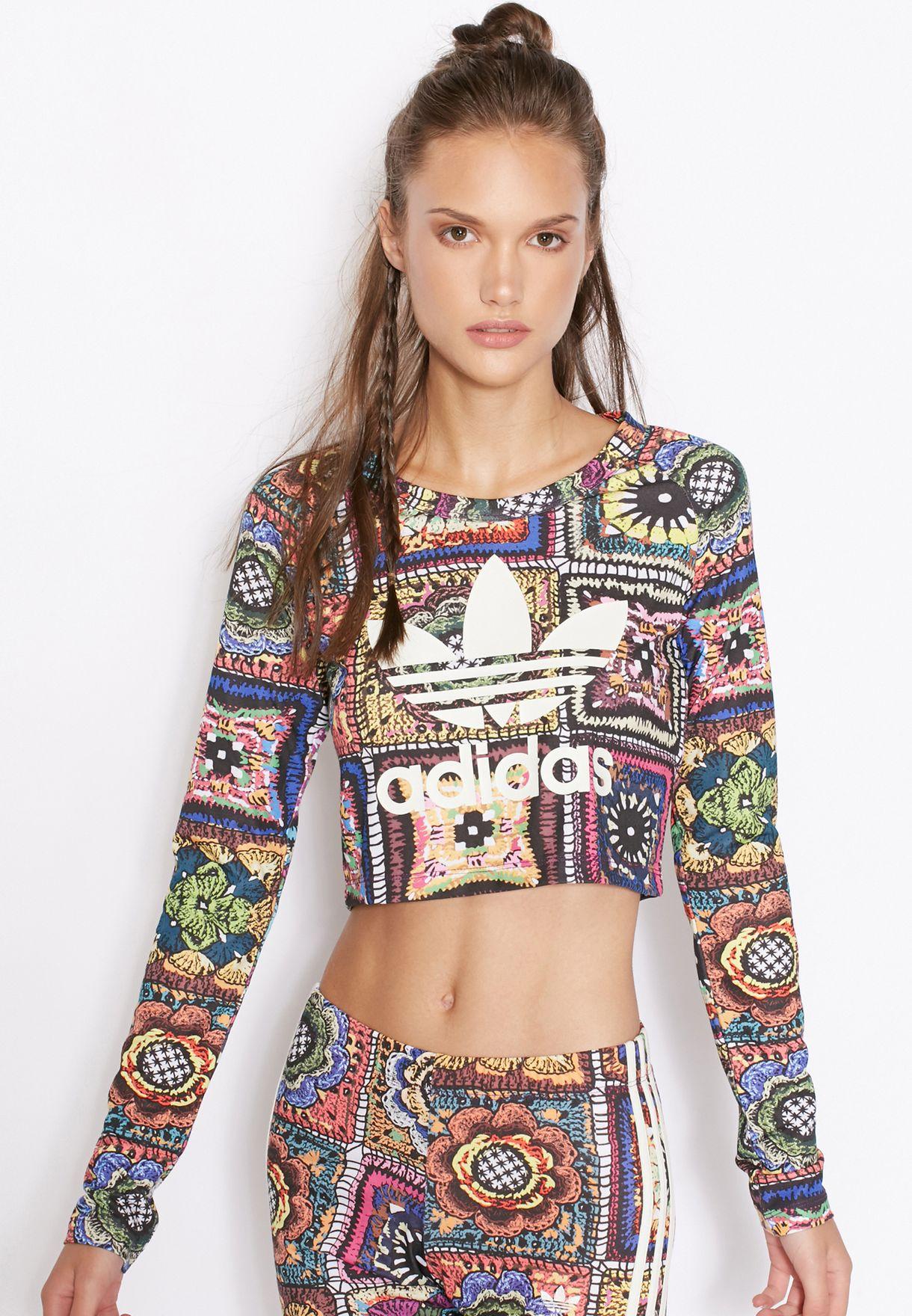 hermoso estilo garantía de alta calidad mejor mayorista Shop adidas Originals multicolor Crochita Logo T-Shirt AY6849 for ...