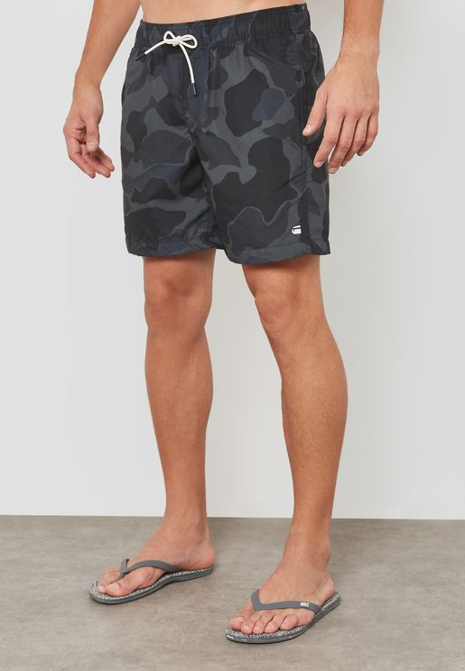 Dirik Camo Print Swim Shorts