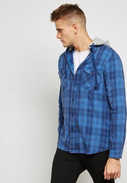 قميص هودي بطبعات مربعات