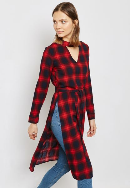 Choker Neck Checked Dress