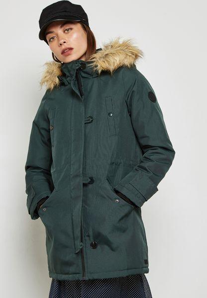 Faux Fur Collar Parka Coat