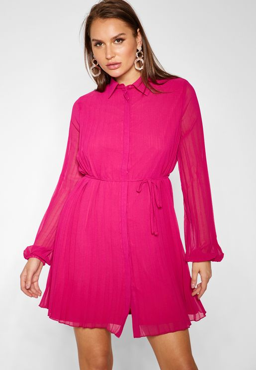 Long Sleeve Pleated Shirt Mini Dress
