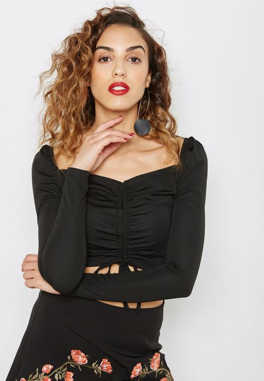 Ruched Long Sleeve Crop Top