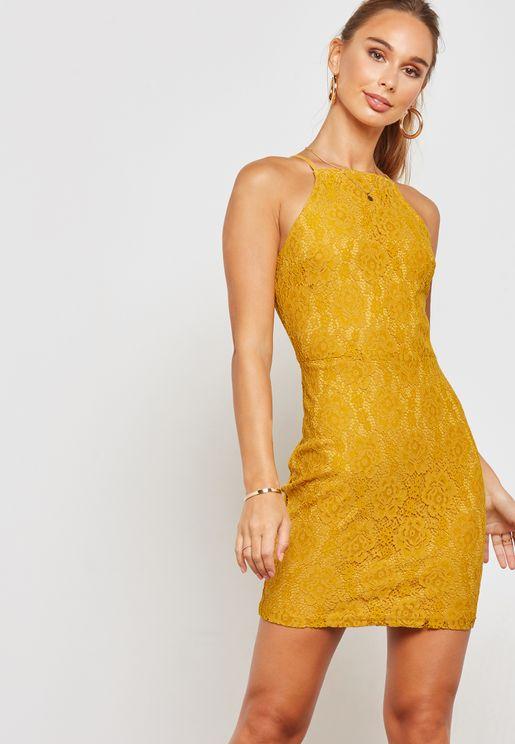 Halter Neck Lace Bodycon Mini Dress