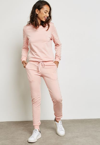 Pearl Detail Joggers Set