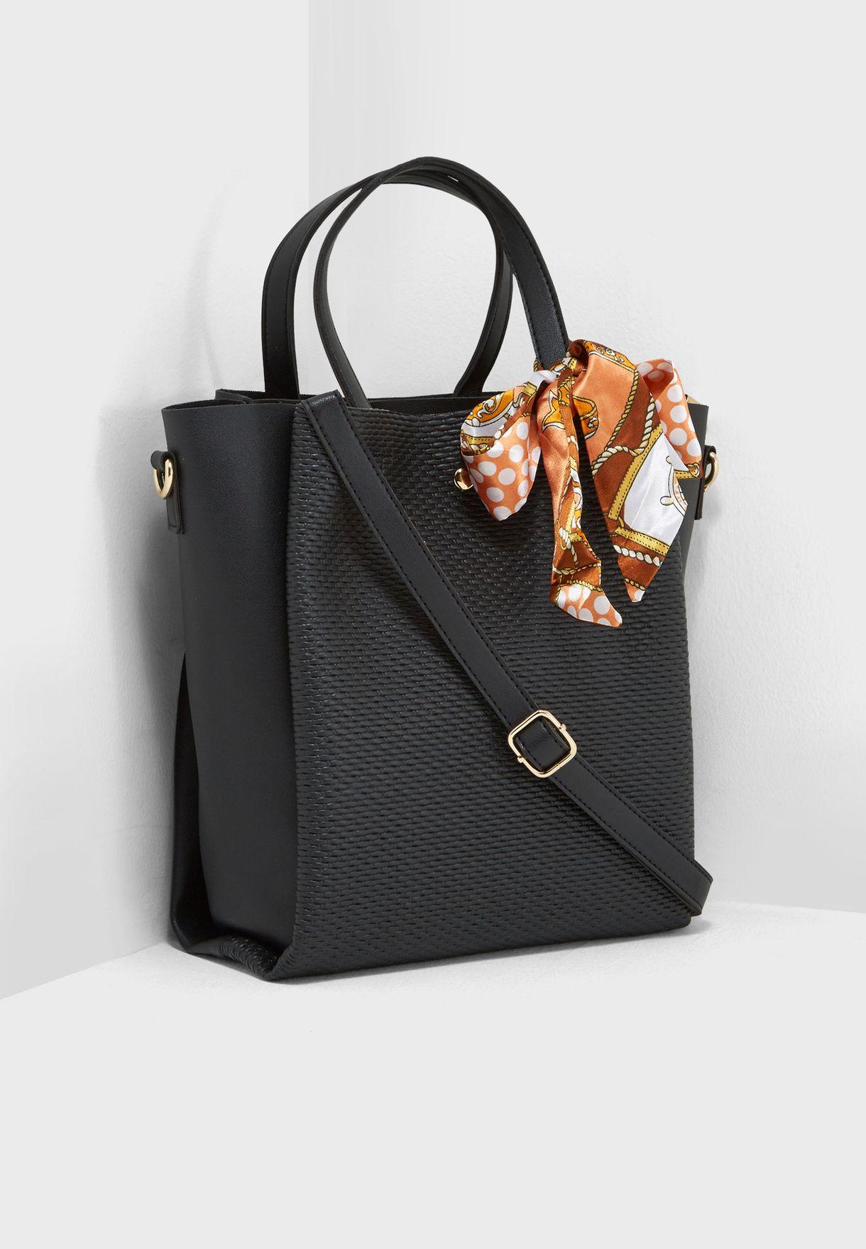 1dcbc87b1da Shop Ella black Scarf Detail Shopper 5018-6 for Women in Kuwait ...