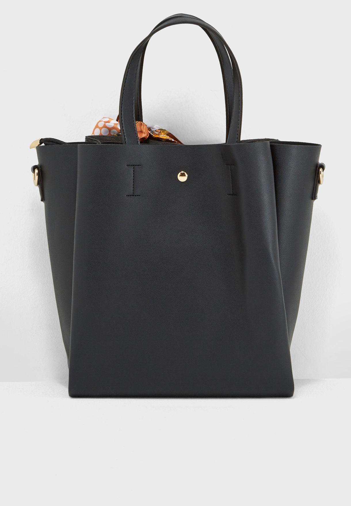 0226045641c Shop Ella black Scarf Detail Shopper 5018-6 for Women in Bahrain ...