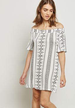Aztec Print Bardot Dress