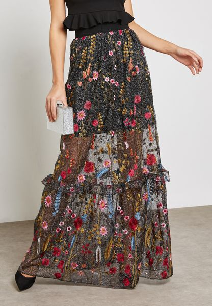 All Over Embroidered Maxi Skirt