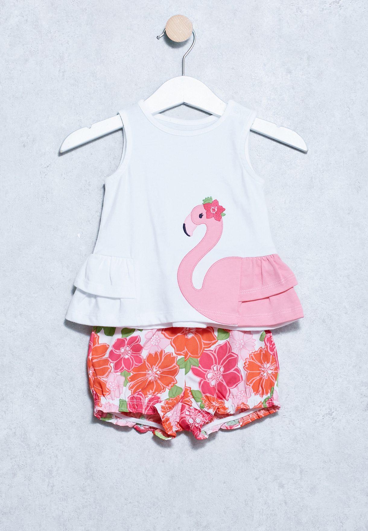 c5594d62ea0cc Shop Gymboree white Infant Flamingo Print Dress 140167535 for Kids ...