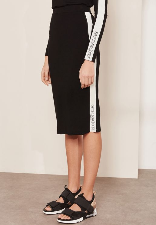 Silvana Asymmetric Side Striped Skirt
