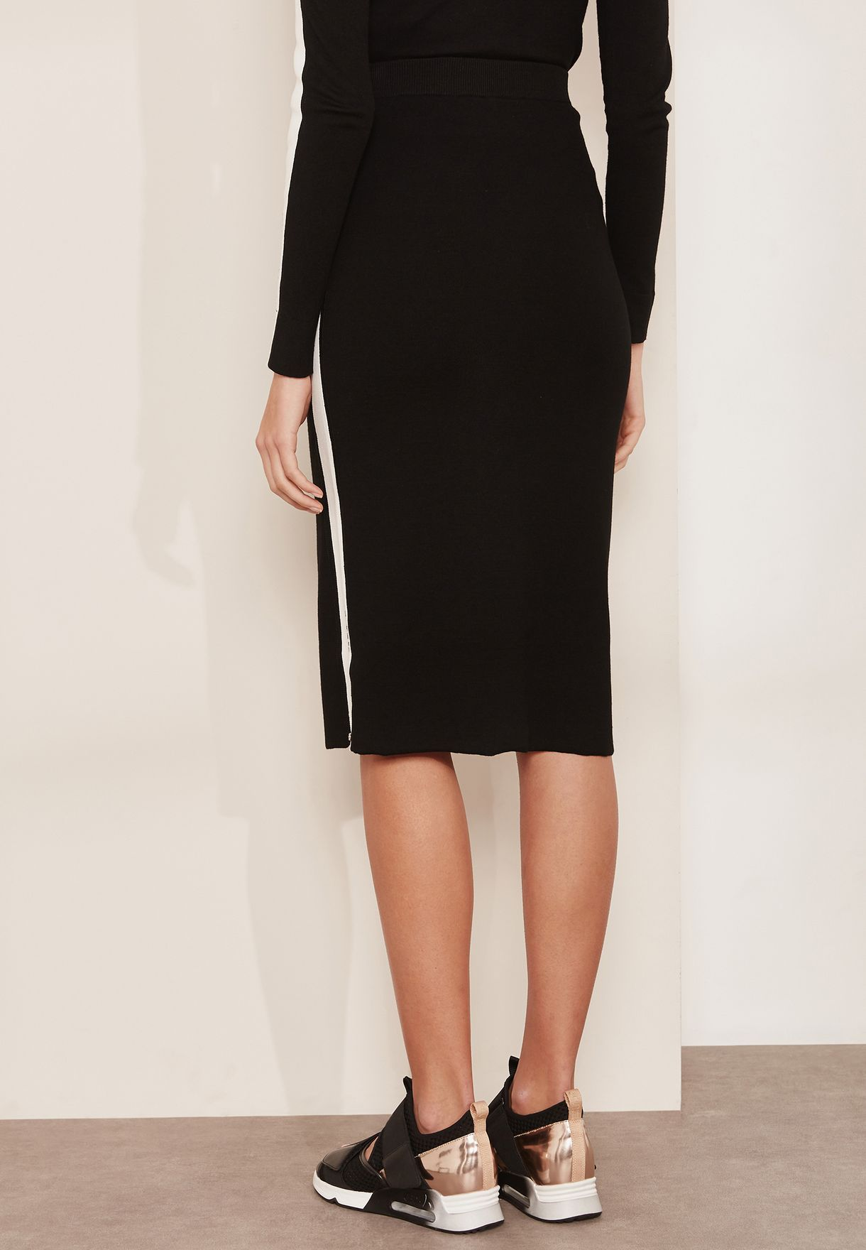 Silvana Asymmetric Side Striped Skirt