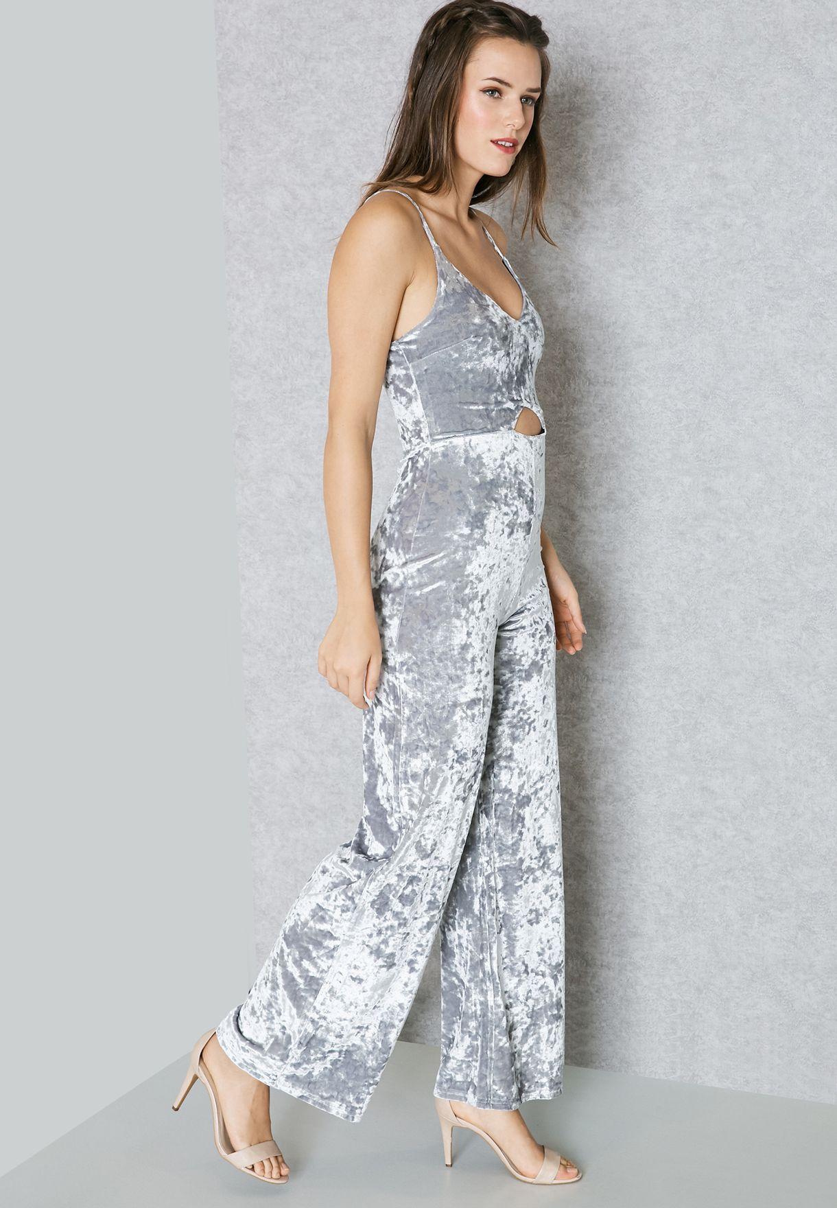 76ab32125a6 Shop Miss Selfridge grey Velvet Cut Out Jumpsuit 18D67USLV for Women ...