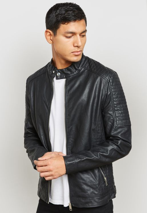 Black Pu Biker Style Jacket Zip Through
