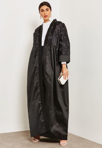 Pearl Detail Top Abaya