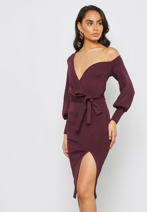 One Shoulder Balloon Sleeve Wrap Midi Dress