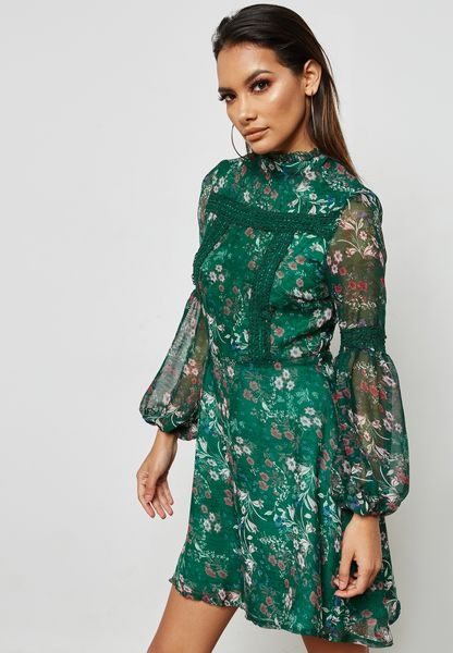 فستان سكاتر بطبعات ورود