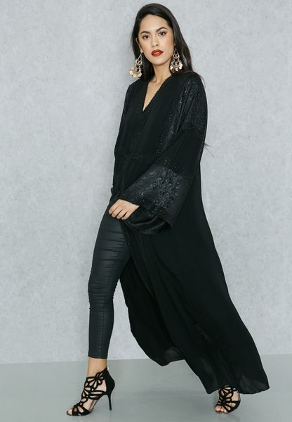 Embellished Lace Abaya