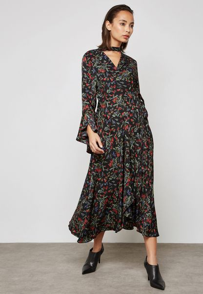 Floral Print Choker Wrap Front Dress