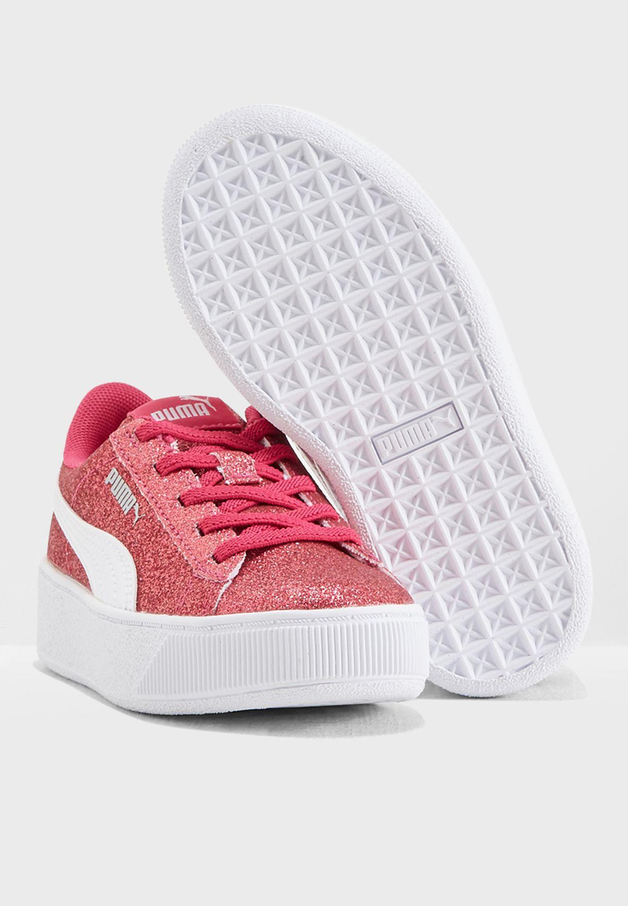 26a75c868b32 Shop PUMA pink Kids Vikky Platform Glitz AC 36685801 for Kids in ...