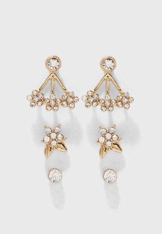 Multipack Floral Glass Embellished Detail Earrings
