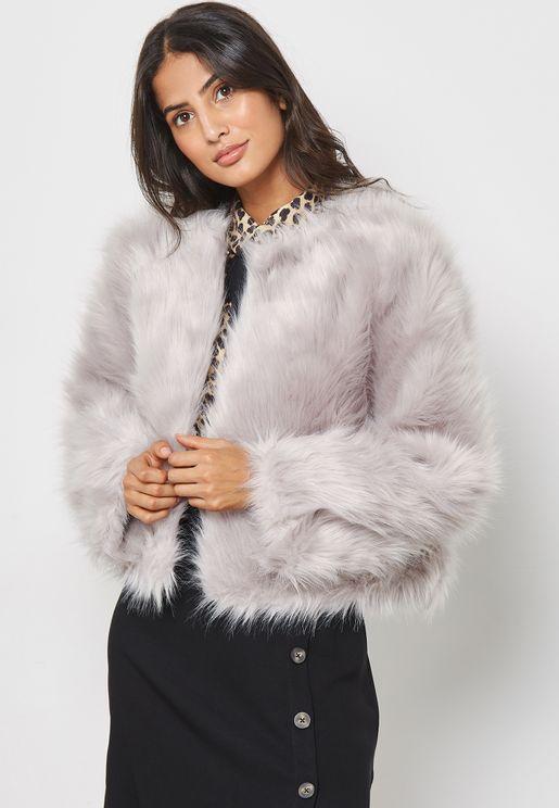 Faux Fur  Collarless Jacket