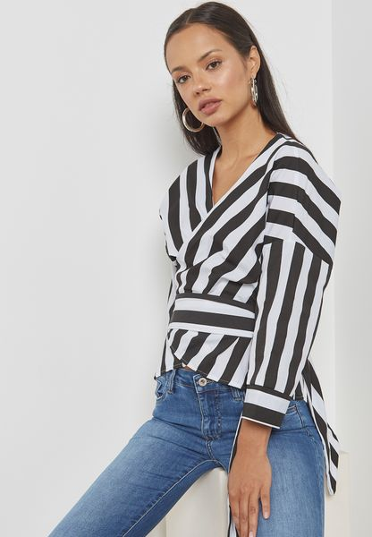 Striped Wrap Front Self Tie Top