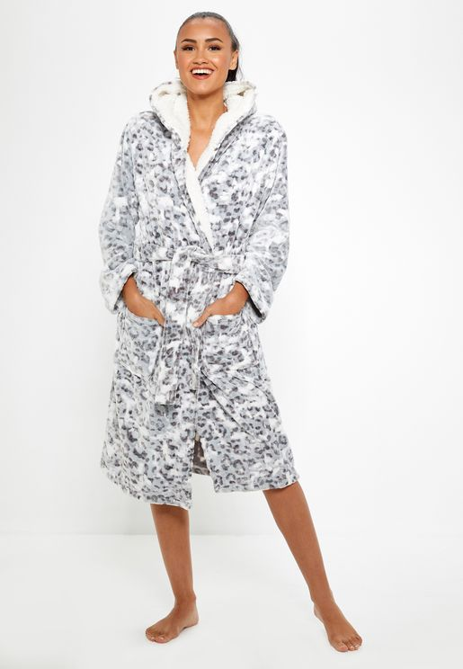 Belted Wrap Long Sleeve Hooded Robe