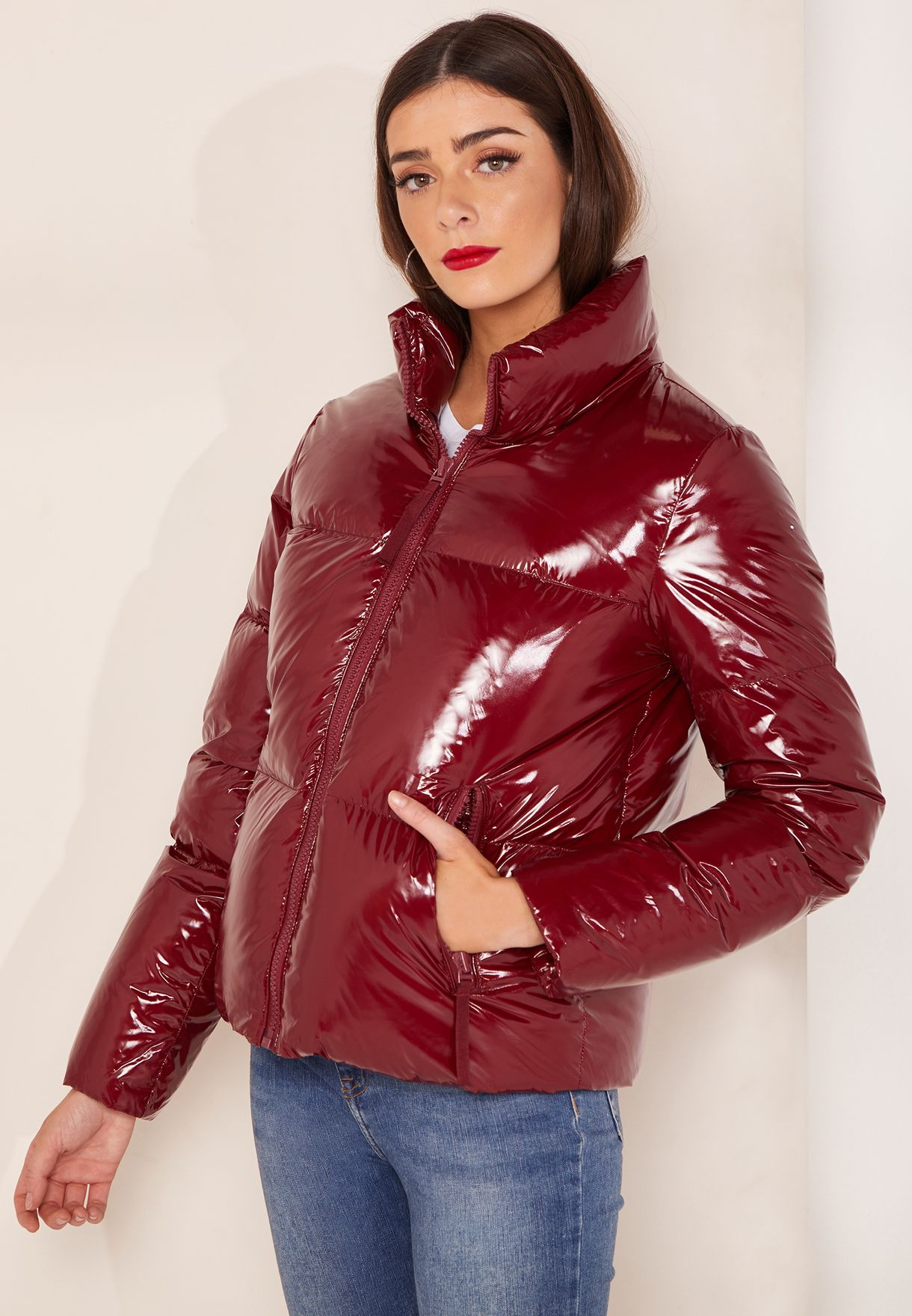 0f77bc09 Shop Tommy Hilfiger red High Gloss Down Jacket WW0WW23512 for Women ...