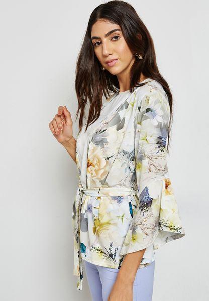 Floral Print Ruffle Sleeve Self Tie Blazer