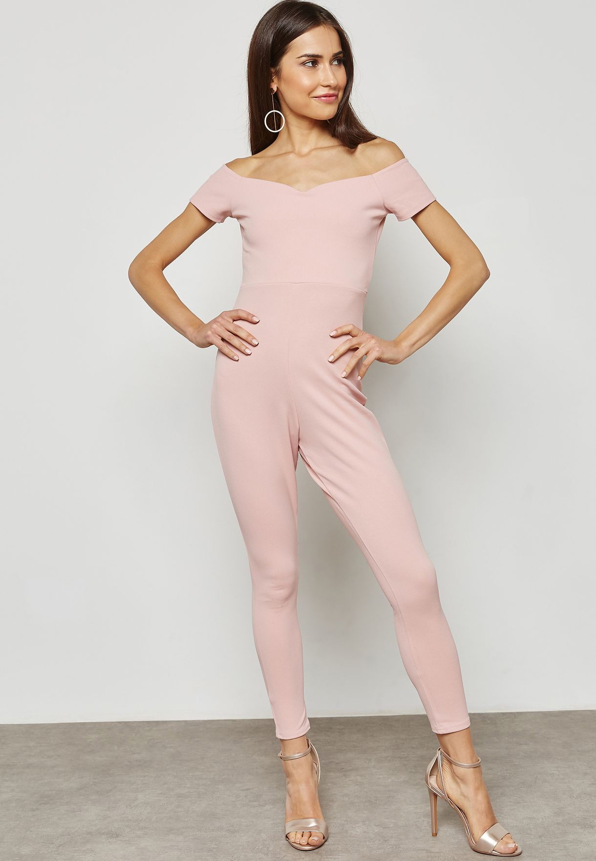 b80f368e81d Shop Missguided Petite pink Bardot Jumpsuit Z9212082 for Women in ...