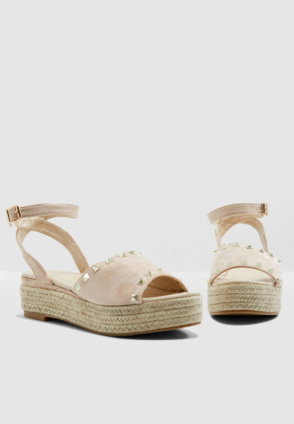 fdd504eb037c Shop Ginger neutrals Barbie Studded Sandals T1803S for Women in UAE ...