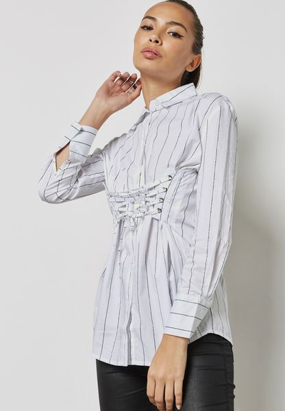 Belted Striped Longline Shirt