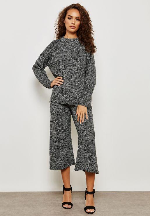 Wide Leg Cropped Pants Set