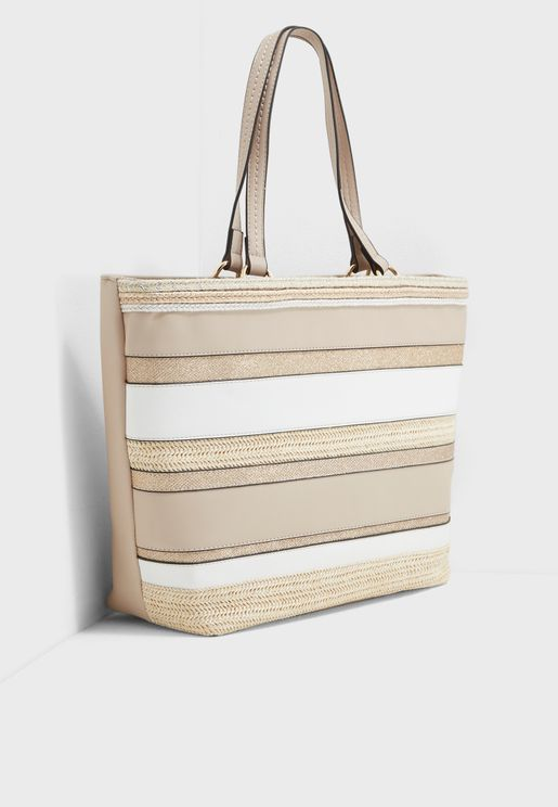 Pretty Stripe Straw Shopper Bag