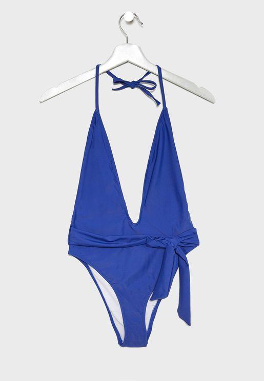 Halter Plunge Tie Wasit Swimsuit