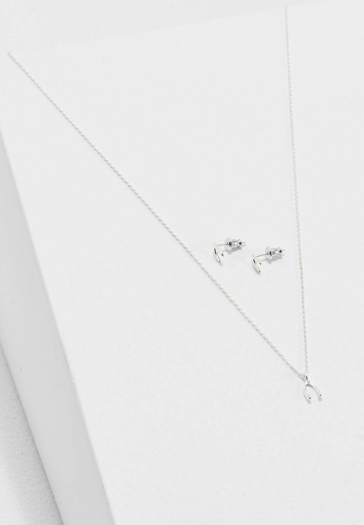 Wishbone Earring + Necklace Pack