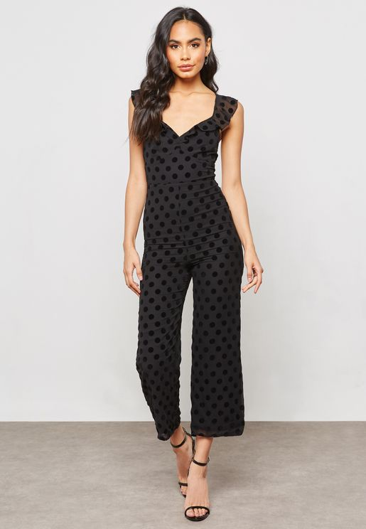 Polka Dot  Strappy Back Jumpsuit