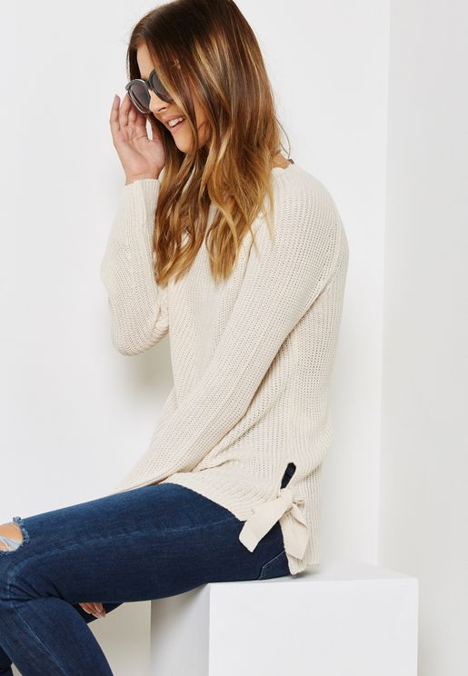 Side Tie Ribbed Sweater