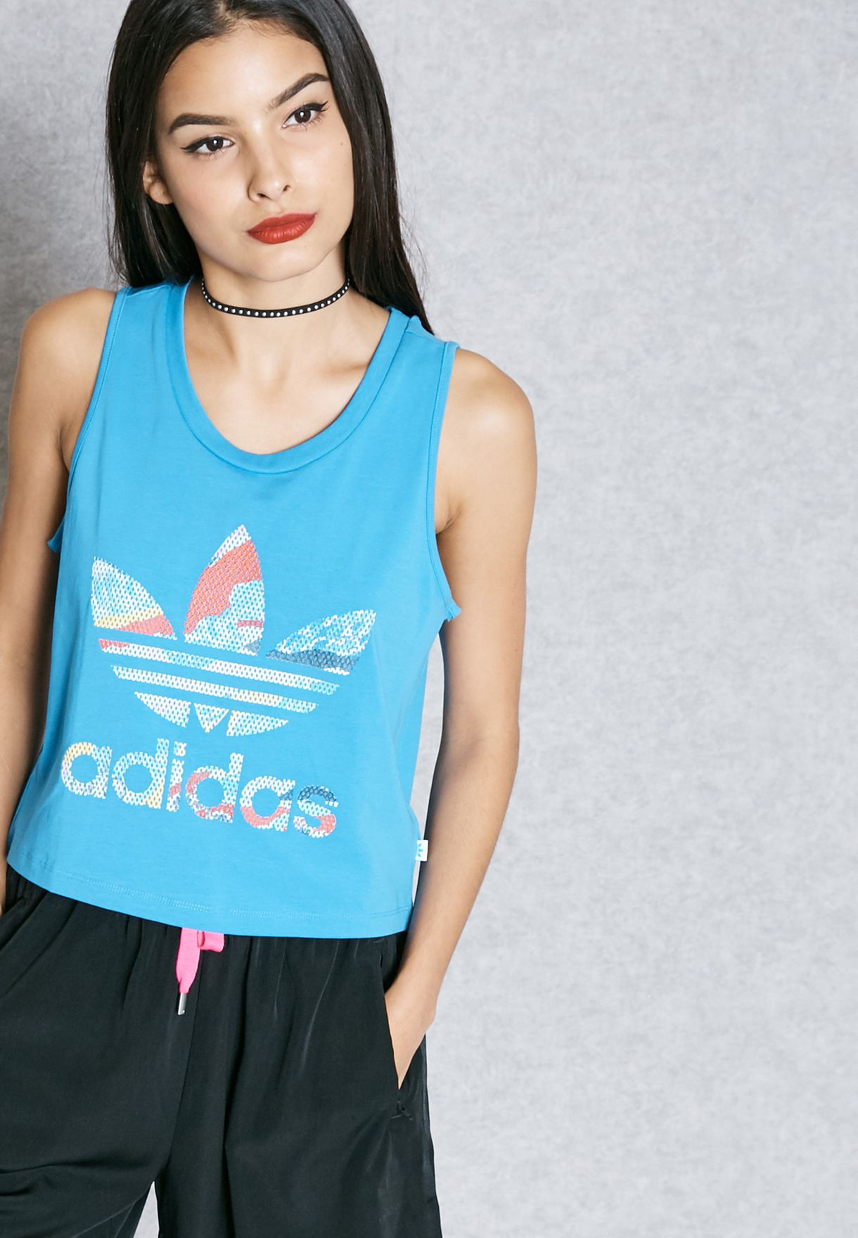 088306085bc Shop adidas Originals blue Loose Crop Tank Top BK2087 for Women in ...