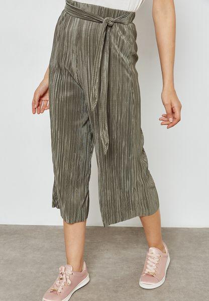 Wide Leg Plisse Belted Culottes