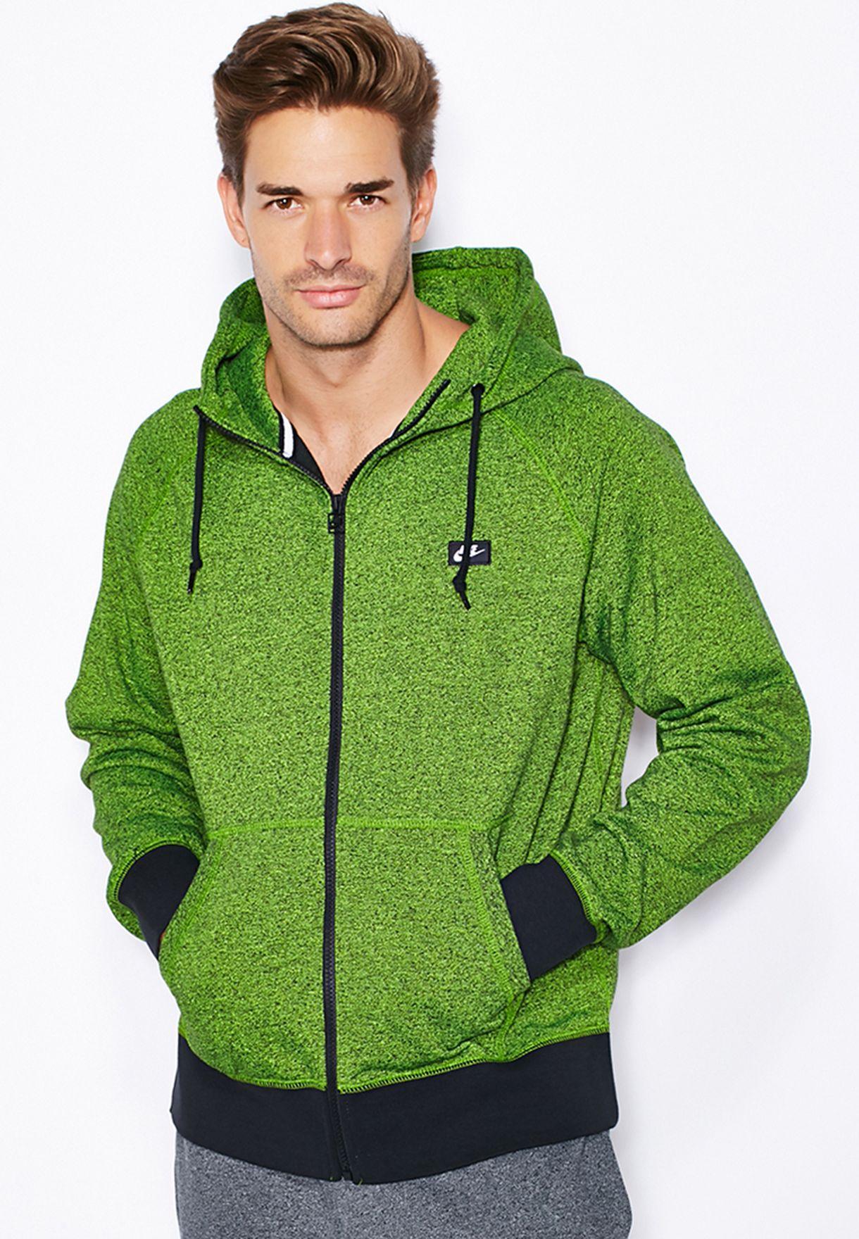 7400d6d269c738 Shop Nike green AW77 Zip Through Hoodie 678560-702 for Men in UAE ...