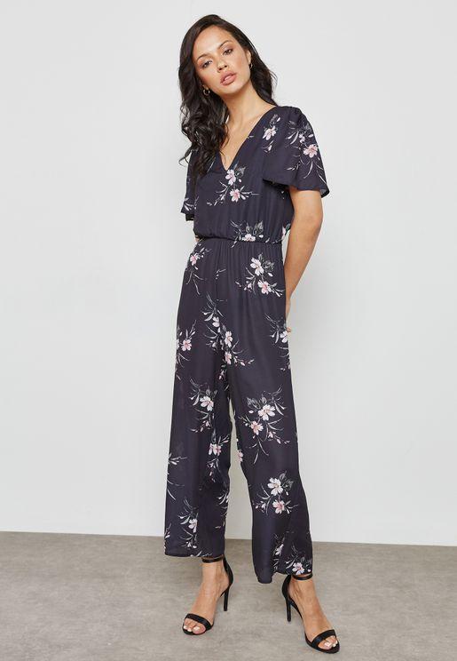 Floral Print Back Cut Out Jumpsuit