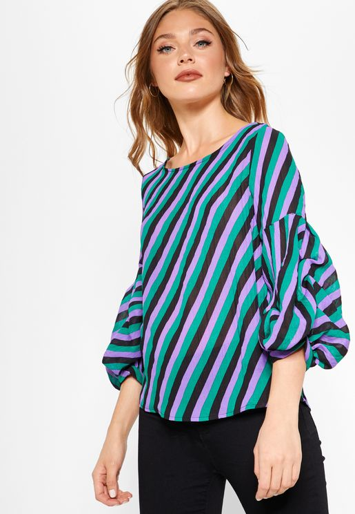 Puffed Sleeve Striped Top