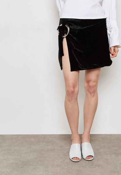 Ring Detail Belt Split Front Mini Skirt