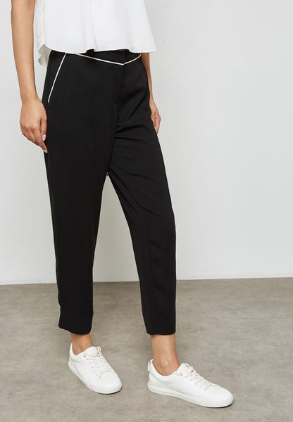 Contrast Piping Pants