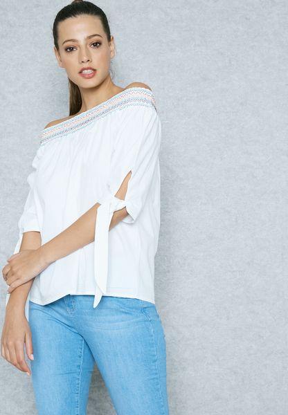 Tie Sleeve Shirred Bardot Top