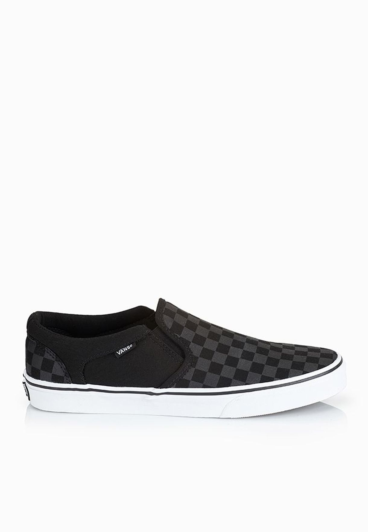 1d9edf3d518d84 Shop Vans black Asher Checkerboard Slip ons SEQ542 for Men in Oman -  VA088SH11AVK