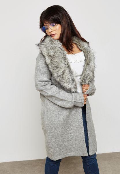 Faux Fur Collar Cardigan